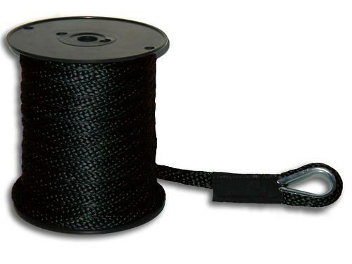 "Black Made in USA 3//8/"" x 300/' Solid Braid Nylon Anchor Line w// Metal Thimble"
