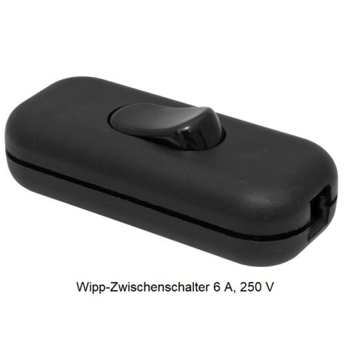 250 Schnurzwischenschalter geschraubt Wipp-Zwischenschalter Schwarz 6 A