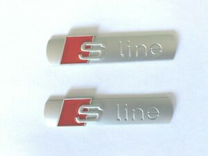 AUDI-SLINE-LOGO-EMBLEME-BADGE-AILE-METAL-GRIS-MAT-A1-A2-A3-A4-A5-A6-A7-TT