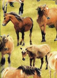 Wild Wings Independence Pass Fabric Horses OOP Quilt Shop Quality Cotton