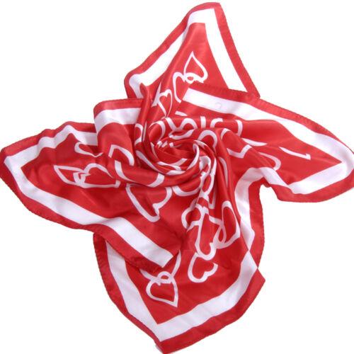 Hübsches Seidentuch HERZMUSTER Halstuch NICKITUCH 53x53 cm Tuch SEIDE  Rot