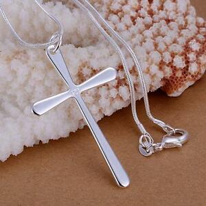 Fashion-925-Silver-Charms-cross-Pendant-Beautiful-women-Necklace-jewelry