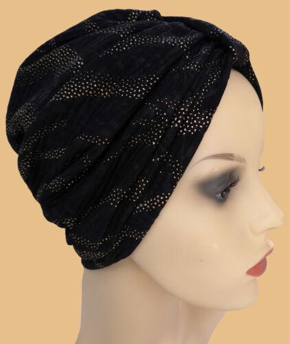 IDEALE per la perdita di capelli troppo Evening Wear Nero Turbante Cappello con design SPIRALI ORO