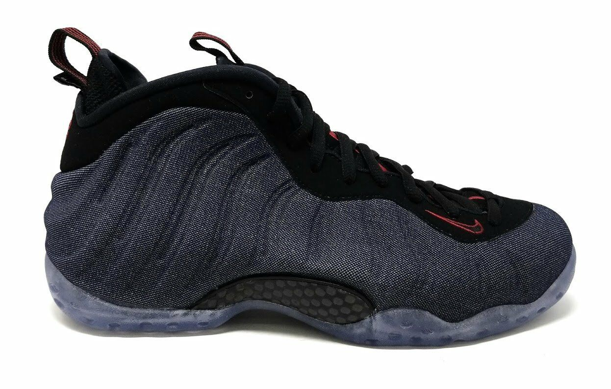 Nike Air Foamposite One Denim Mens Black 314996-404 Obsidian Black Mens Red Shoes Size 9.5 941449