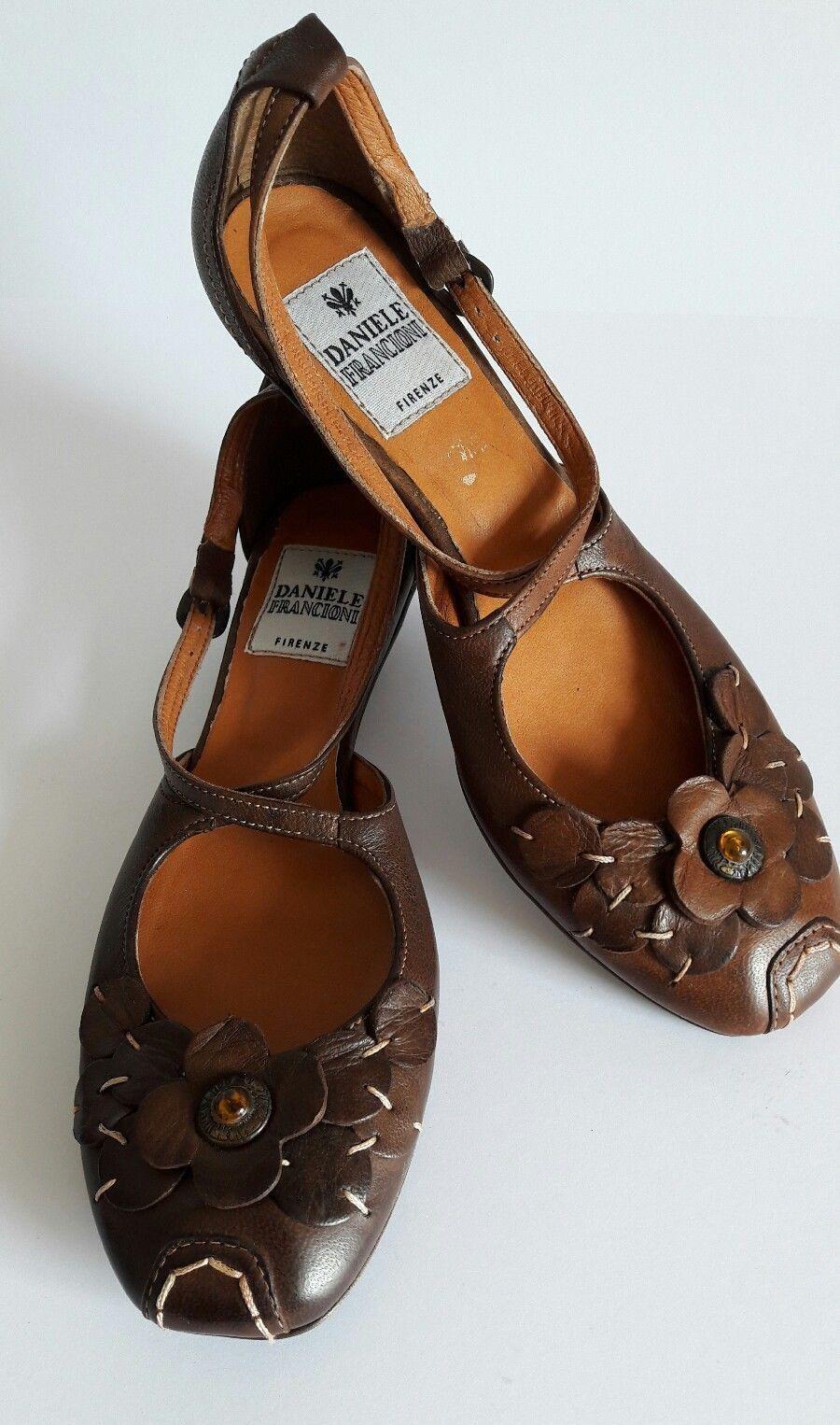 DANIELE FRANCIONI Ballerinas Pumps Schuhe LEDER Riemchen BRAUN Gr.37 NEU