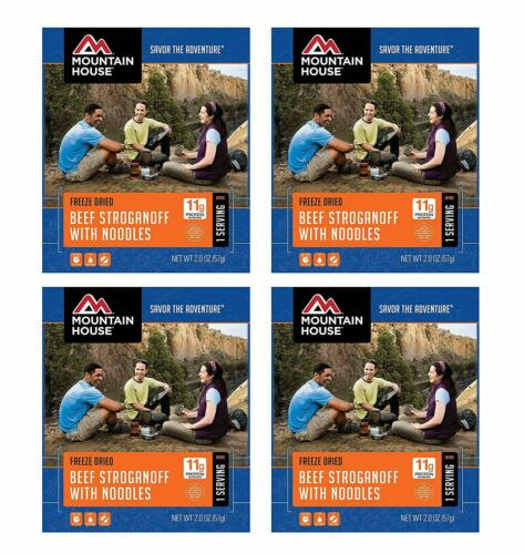 Single Serve 4-Pack Mountain House Beef Stroganoff with Noodles