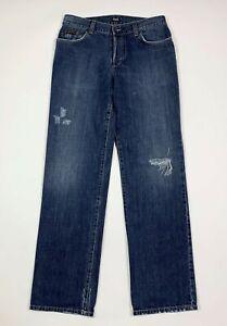 DG-dolce-gabbana-jeans-uomo-usato-W34-tg-48-strappati-gamba-dritta-boyfriend