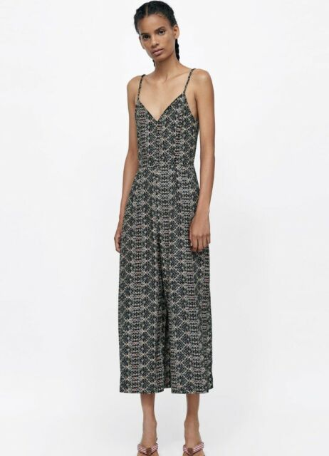 aacf70a7f0 BNWT Zara Printed Culotte Jumpsuit Multicoloured Strappy Size Extra Small XS