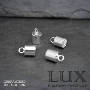 BULK 10 sets Silver Plated End Caps or Tips for 9mm Cord with 14mm Clasps UK