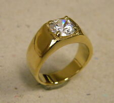 Men's Yellow Gold Plated Smooth Ring Large CZ Solitaire Pinky 1ct New Size 10