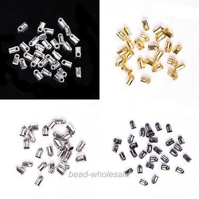 100 Pcs End Cord Tube Tip Caps End Rope for Jewelry Making Findings 5x3.5mm