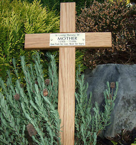 Details About 24 Oak Wood Memorial Cross Wooden Grave Marker Personalised Engraved Plaque Pet