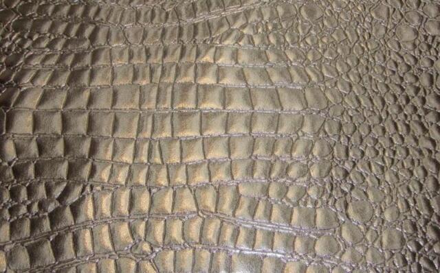 Silver Shinny Heavy Duty Upholstery Crocodile Vinyl Fabric On Sale By The Yard