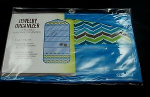 Blue-Chevron-Jewelry-Organizer-Hanging-Accessory-Holder-Photo-Hanger-22-Pockets
