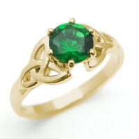 Trinity Knot Ring Diamond-unique 1ct Emerald Solid 9ct Gold Uk Hallmarked