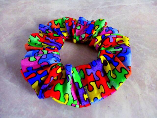 Autism Awarness Puzzle Handmade Hair Scrunchie