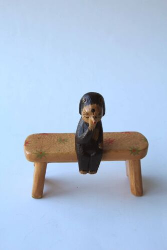 Sits on a shelf edge Size X-Small Smoking Black Dog Wood Statue