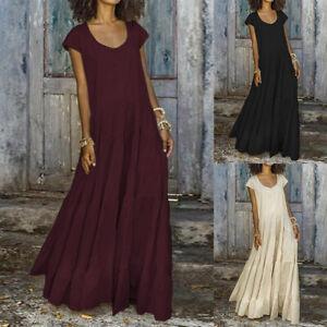 Women-Short-Sleeve-Scoop-Neck-Long-Maxi-Dress-Pleated-Skirt-Dress-Shirt-Dress