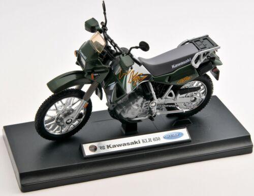 BLITZ VERSAND Kawasaki KLR 650 2002 grün Welly Motorrad Modell 1:18 NEU /& OVP