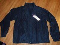 Women Xl Windbreaker Jacket Zip Up Front / 2 Zipped Pockets Navy Blue
