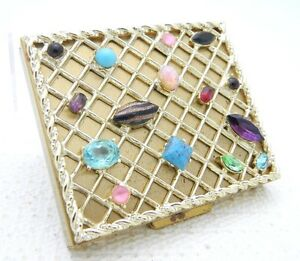 VTG-Gold-Tone-Metal-Multi-Color-Jeweled-Rhinestone-Tradition-Powder-Compact-Case