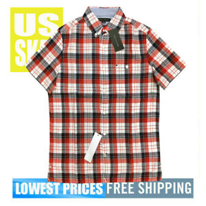 Tommy-Hilfiger-Men-039-s-NWT-Red-WB-Checker-1-SLIM-Fit-Button-D-Sh-Sl-Shirt-2XL