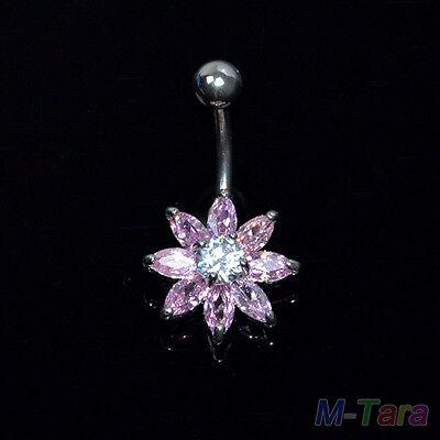 Flower Belly Button Rings Crystal Rhinestone Jewelry Navel Bar Body Piercing