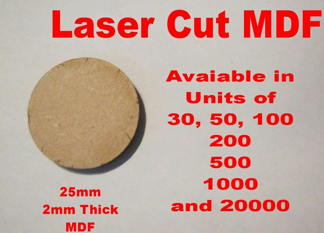 25mm Circle Round Bases in Laser Cut 2mm MDF