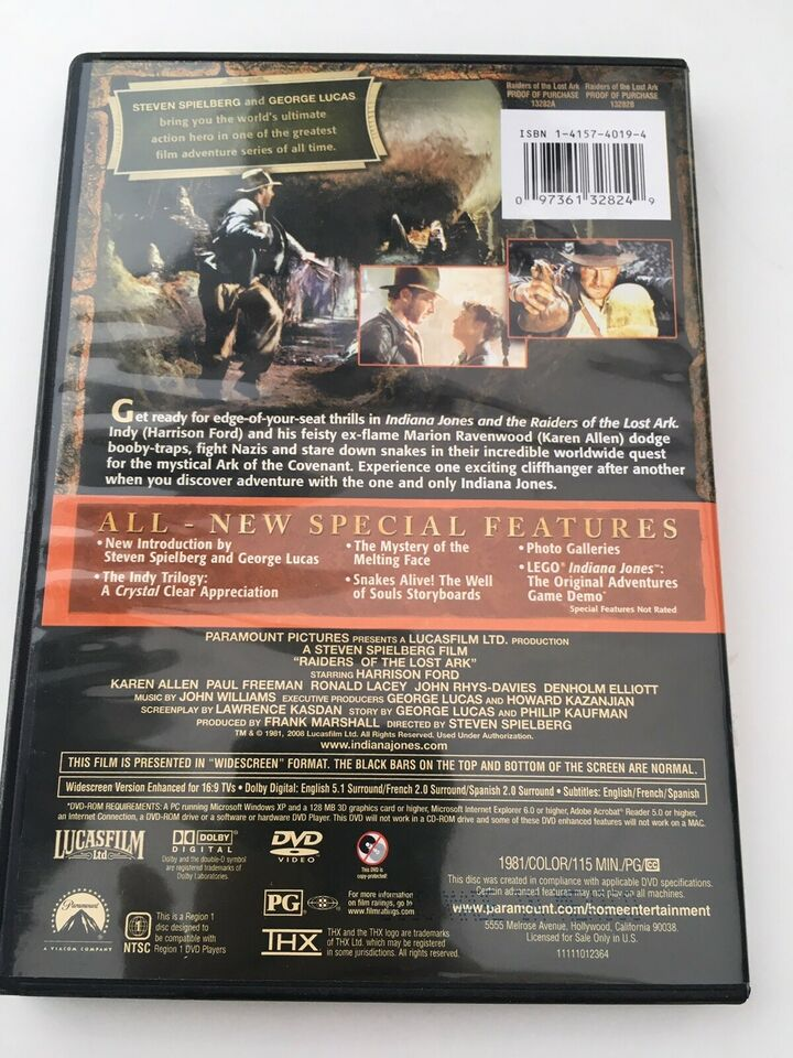 Indiana Jones and the raiders of the lost ark, DVD, action