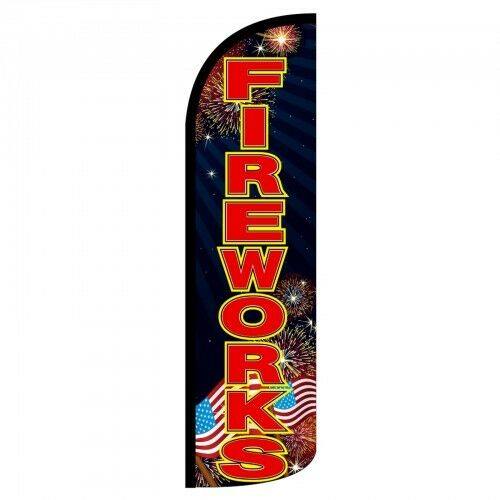 Fireworks  Extra Wide Windless Swooper Feather Flag Sign  X 2
