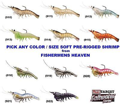 """Live Target Saltwater Shrimp Soft Plastic 4pk Rigged SSF75SK912 White 3/"""""""