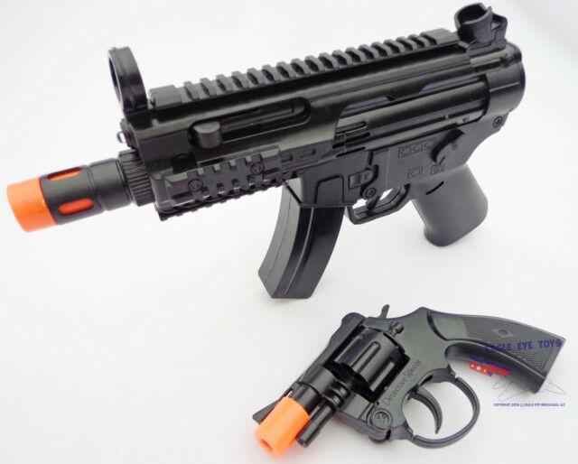 2X Toy Machine Guns Elec MP5 w Flashing Lights & Sound FX & Revolver Cap  Gun Set
