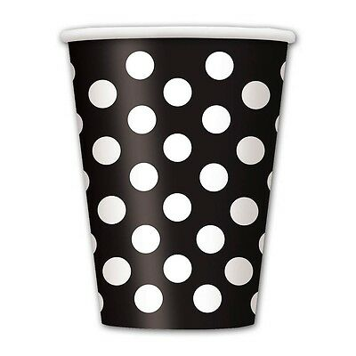 6 Black White Polka Dot Spot Style Birthday Party 12oz Disposable Paper Cups