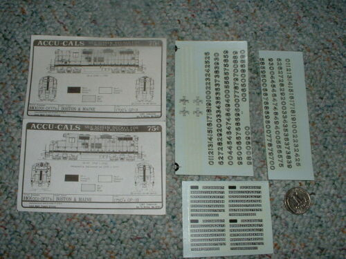 Accucals decals HO 001DF17b Boston Maine 1700's GP9 1750's GP18 E56