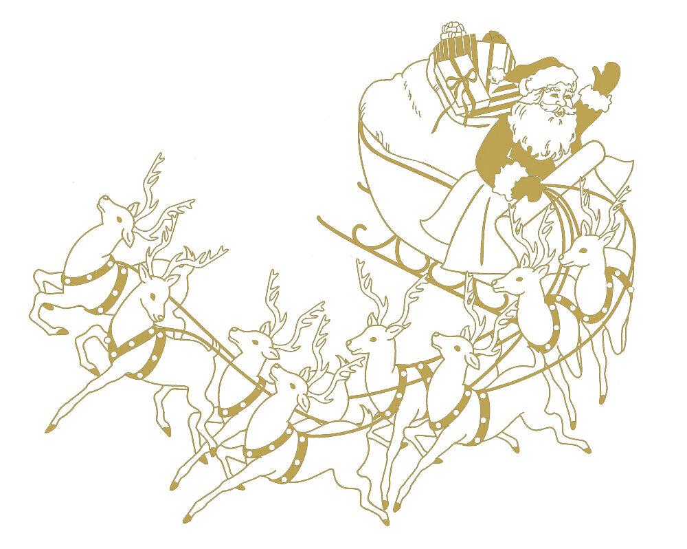 (WD0813 Gold) Applikation Aufkleber Dekor • Santa mit Schlitten • versch. Größen