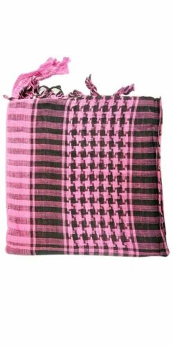 PINK and Black Scarf Wrap Arafat Shemagh Keffiyeh Checkered Neck Shawl Hijab