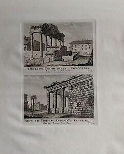 ITALIA-ROMA-TEMPLO-DELLA-CONCORDIA-GRABADO-ORIGINAL-DOMENICO-PRONTI-1795