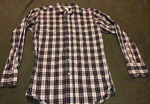 Wrangler-Pearl-Snap-Western-Shirt-Mens-Small-Plaid-Long-Sleeve-Black-White-Plaid