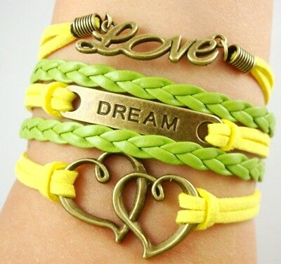 NEW Hot Infinity Love Anchor Leather Cute Charm Bracelet Bronze DIY SL179