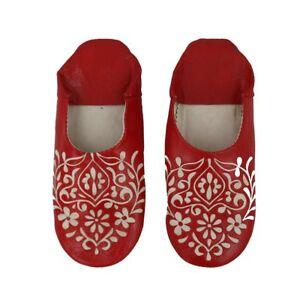 Babouche-Rot-Florales-Muster-Orientalische-Lederhausschuhe-Marokkanischer-Leder