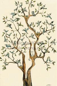 4x6-archival-signed-PRINT-The-Bird-Tree-cats-pets-animals-blue-birds