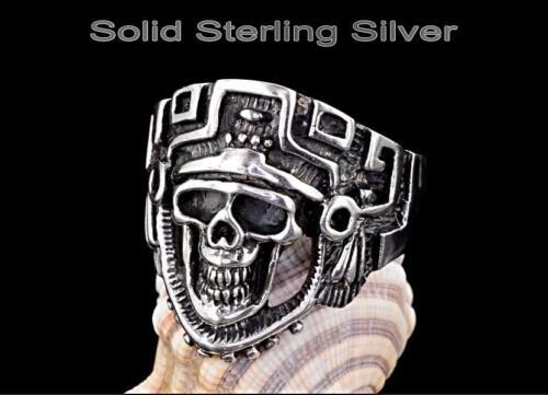 SIZE 12 Hallmark 925 Sterling Silver New Motorcycles BIKER Skull Men Ring R-249