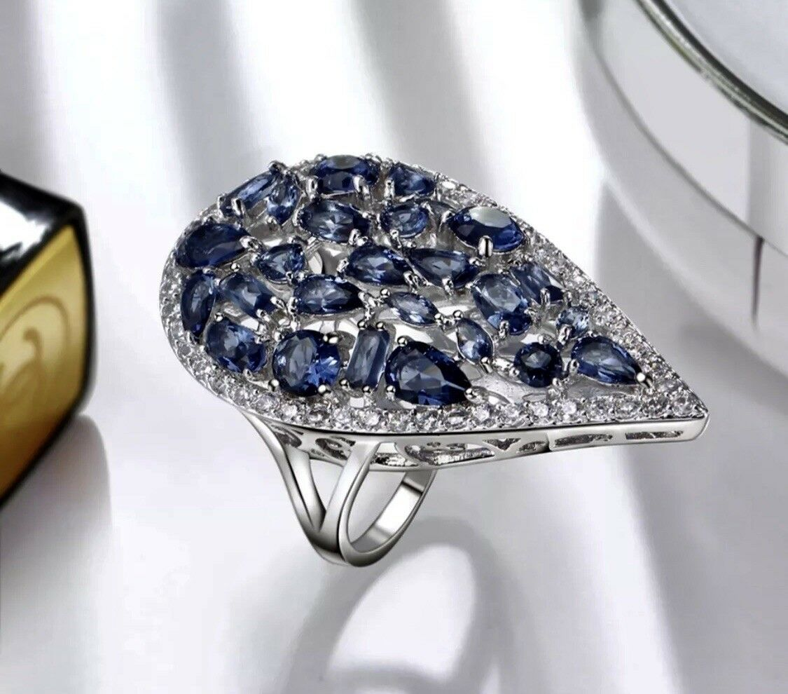 e6bb456201d5 Swarovski Bluee Big Ring 18k White Gold Sapphire Crystal Index Made dCBroex
