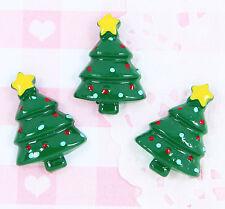 6 x Cute Christmas Tree Flatback Cabochon Embellishment Kawaii Craft Supplies