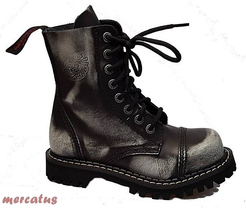 Grandes zapatos con descuento ANGRY ITCH - 8-Loch Gothic Punk Army Ranger Armee Leder Stiefel mit Stahlkappe