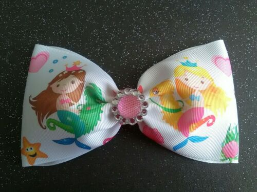 "Large 5/"" Cute Mermaid  Hair Bow//Hair Clip//Hair Accessory 3/"" ribbon"