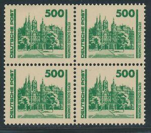DDR-1990-Bauwerke-u-Denkmaeler-500-Pf-Schloss-Schwerin-4-er-Block-FALSCHUNG