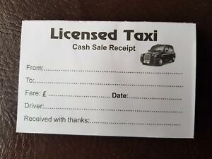 TX-E Electric Black Cab Taxi Receipt Pads 50 to a pad • from 1-100 pads