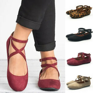 Women-039-s-Ladies-Casual-Solid-Rome-Buckle-Strap-Round-Toe-Sandals-Flat-With-Shoes