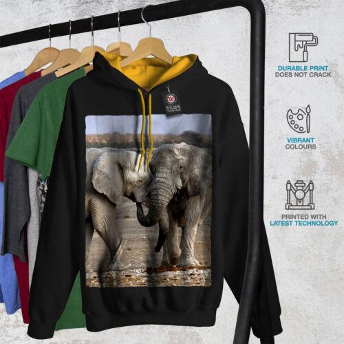 Elephant cappuccio uomo Animal Black Wild Felpa New cappuccio a contrasto oro Wild con UB5qX
